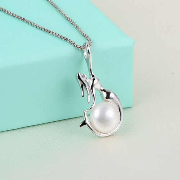 """925 Sterling Silver Freshwater Pearl Mermaid Pendant 18/"""" Chain Necklace Gift Box"""